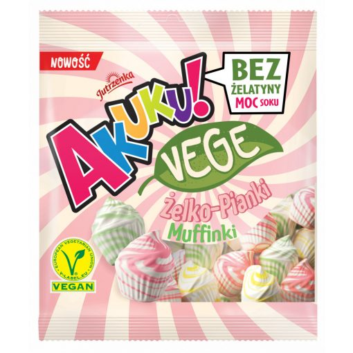 Akuku vegán cukorka, muffin forma, gyümölcs ízű (75g)