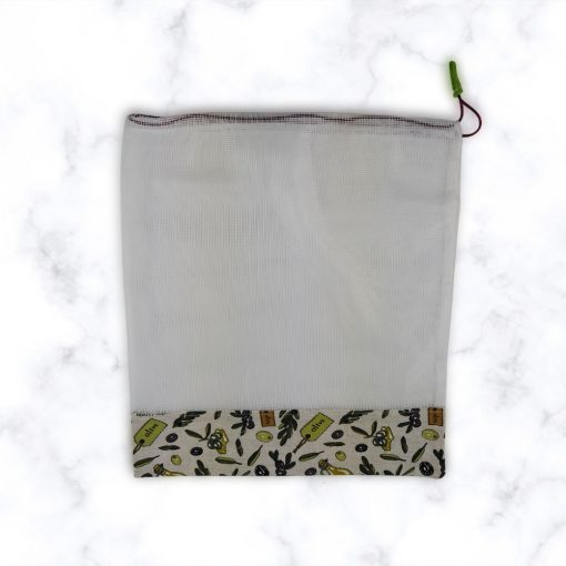 Kézműves öko zöldséges zsák olivabogyó mintával