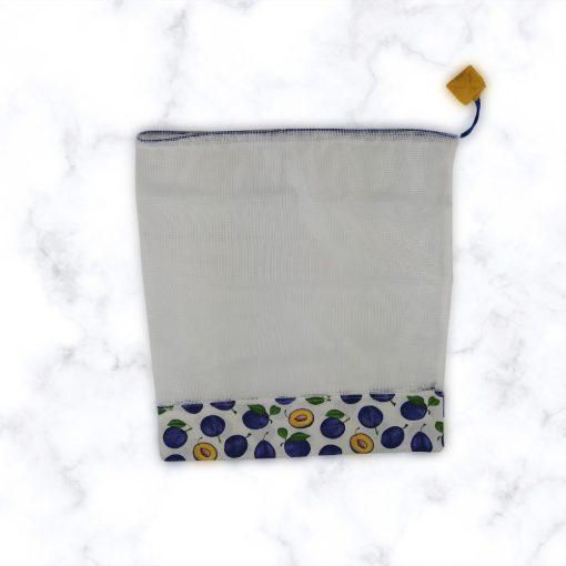 Kézműves öko zöldséges zsák szilva mintával