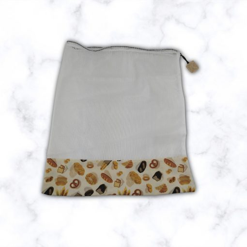 Kézműves öko zöldséges zsák pékáru mintával