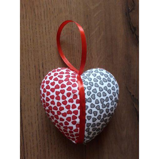Kézméves ajándék szív piros-szürke