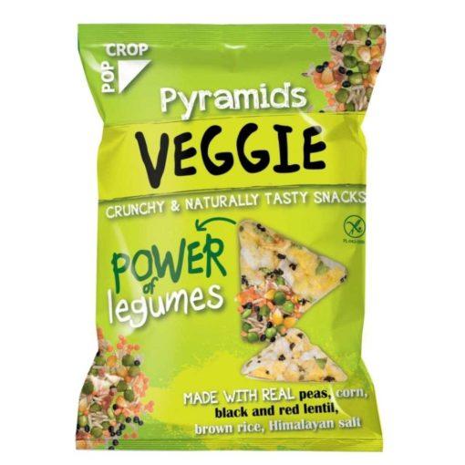 Veggie Piramis snack valódi zöldborsóval,vörös- és fekete lencsével, gluténmentes (25g)