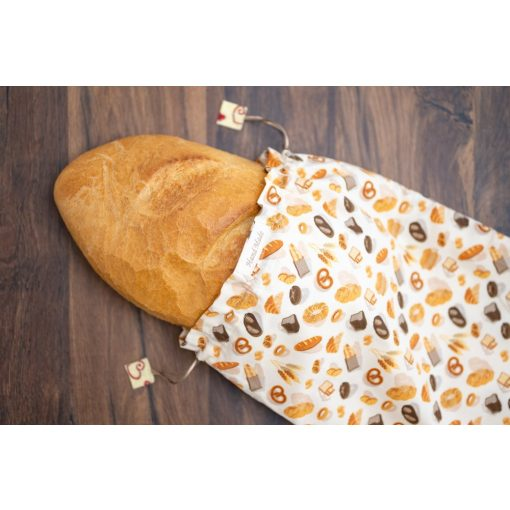 Kézműves öko kenyereszsák 'Pékáru' mintával