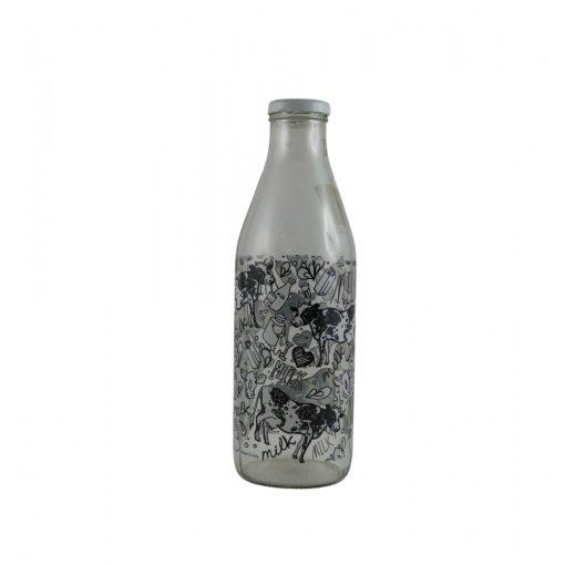 Tejes üveg tehén mintával